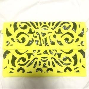 Handbags - Neon yellow & black cutout design clutch